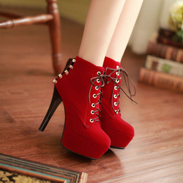 Wholesale Bridal Ankle Boots - Boots Scrub red wedding shoes bridal fine with boots plus size 40 41 42 high heel 12CM Platform 4CM Thin Heels EUR Size 34-43