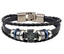 Wholesale Hematite Cross Bracelet - New religion crusades leather bracelet,casted cross hematite finish,3 rows snap closure
