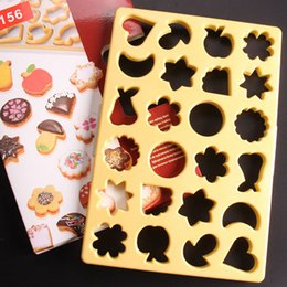 Wholesale Star Shaped Mold - New Arrive 24 Shapes Heart Moon Star Fruit Platter Cookie Cutter Biscuit Decoration Mold