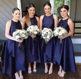 Wholesale Dress For Parties Events - Navy Satin High Low Bridesmaid Dresses Wedding Guest Prom Party Gowns Elegant Ankle Length Formal Dresses Custom Made For Wedding Event