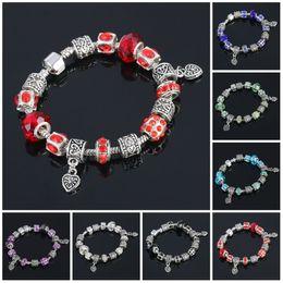 Wholesale Cheap Silver Charm Beads - Murano Glass Beads Bracelets Valentine's Gift Murano Glass Crystal Jewelry Bracelet Bangle Silver Jewelry Cheap Murano Glass Charms Bracelet