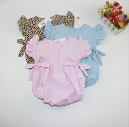 Wholesale Stripe Pink Romper - 3 Style Stripes Leopard Infant Baby Romper Bowknot Babies Girl Romper Cotton Kids Clothes Baby Clothing Rompers Jumpsuit K8105