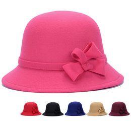 Hot sale wool wide brim felt hat fedora hats for women big bowknot of fall  winter sombrero floppy bowler ladies bucket cap a66e3e6ee7c5