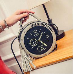Wholesale Handbags Street Style - 2016 New Women Mini Fashion PU Leather Luxury Handbags Watch Clock Shape Single Shoulder Messenger Bag Lady Street Handbag Free Shipping