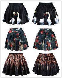 d350adf024e Высокая талией черная основа цветок печати меч белый лебедь юбка весь матч  юбка в складку пузырь юбка