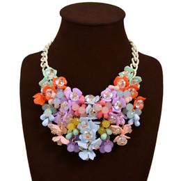 Wholesale Palace Glass - Teardrop-Shaped Rhinestone Colorful Bib Statement Necklace Korean beauty palace Floral Collarbone Elegant Floral Pattern Short Necklace