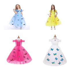 Wholesale Wholesale Fancy Baby Dresses - Girls butterfly lace snowflake Elsa cinderella dress 201 fancy costumes for kids blue gown Halloween baby girl butterfly dress 5 Layers