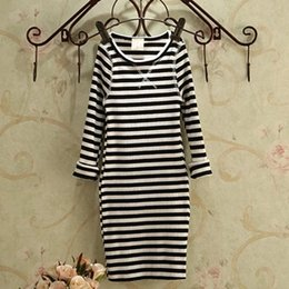 Wholesale Girls Striped Tights Black White - Retail Hot Sale Slim elastic Tight knit Girls Dress New 2016 Autumn Kids Cotton All Match Long Sleeve Striped Girl Dress WYY205