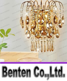 Wholesale K9 Crystal Wall Sconce - Luxury Top Grade K9 crystal Wall Lamp gold LED wall Sconce lamp Bedroom living room wall lamps sconce crystal lighting LLFA