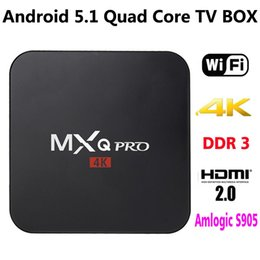 Wholesale Marshmallow Wholesale - Quad Core Google Android 6.0 Marshmallow IPTV Smart TV Boxes MXQ PRO TV Box 4k Amlogic S905 4K H.265 Supported