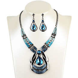Wholesale Wedding Way - new pattern bottom price jewelry set exotic restore ancient ways dorps of oil blue gem necklace water-drop earrings necklace