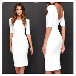 Wholesale Sexy White Night Gowns - Evening Dresses Sleeves Sexy Womens Backless Bandage Club Slim Bodycon Party Evening Cocktail White Mini Dress evening gown