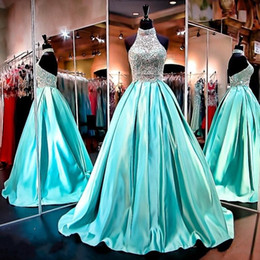 Wholesale turquoise formal ball gowns - 2016 New Bling Prom Dresses High Neck Illusion Crystal Beading Satin Turquoise Mint Backless Sweep Train Formal Party Dress Evening Gowns