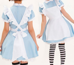 Kostüm süßigkeiten online-Wholesale-S-XXL Alice im Wunderland Sweet Waiterress Maid Lolita Kostüm Blau Halloween Fancy Dress