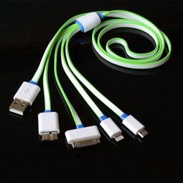 Wholesale Iphone 1m Noodle Cable - 4 in 1 1M Flat noodle USB Cable Sync Data Charger For iphone 7 6 5 huawei Xiaomi For Samsung s6 s5 PC