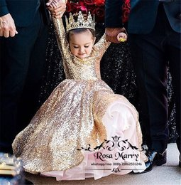 Wholesale Long Pageant Gowns Size 3t - Lovely Gold Sequined Ball Gown Flower Girls Dresses 2017 Long Sleeves Keyhole Plus Size Cheap Cinderella Pageant Birthday Prom Party Gowns
