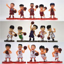 Wholesale Slam Dunk Anime - 5pcs set Japanese anime figure PVC Basketball doll toy SLAM DUNK Hanamichi Sakuragi Colored clothes PVC doll 6CM free shipping