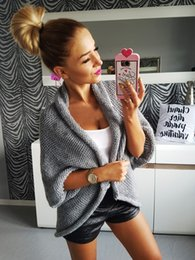 Wholesale Ladies Fall Sweaters - Hot Sale Gray Knitted Women Cardigans 2017 New Arrival Batwing Sleeves Short Lady Sweaters High Quality Fall Sweater In Stock