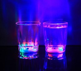 Wholesale Flash Shots - 24pcs Colorful Led Cup Flashing Shot Glass Led Plastic Luminous Cup Neon Cup Birthday Party Night Bar Wedding Beverage Wine flash small cup