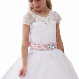 Wholesale Cheap Vest Wrap - 2017 Cheap Sheer Cap Sleeve Lace First Communion Dresses For Girls Crystal Beaded Ribbon Vintage Flower Girl Dresses For Wedding