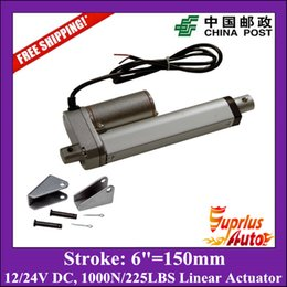 Wholesale Dc Electric Linear Actuator - Free Shipping electric linear actuator with mounting bracket, 10mm s 150mm 6inch stroke 1000N 225LBS 12V DC mini linear actuator