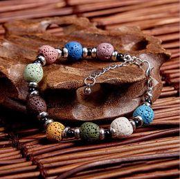 Wholesale Oil Plate - Fashion Bohemian Lava Stone Multicolor Bracelets Bangles For Women Jewelry Silver Plated Essential Oil Diffuser Bracelet
