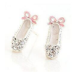 Wholesale 4g Earrings - Free Shipping $10 (mix order) 2016 New Fashion Full Rhinestone Ballet shoes bow stud earring E33 4g