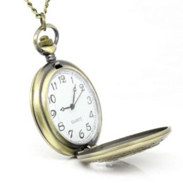 Wholesale Rose Pocket Watch - 1PC Pocket Watch Necklace Chain Rose Flower Carved Round Bronze Tone 83cm 6.4x4.7cm High Quality Vintage Style Gifts For Women