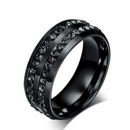 Wholesale Mens Diamond Rings Wholesale - 2016 fashion stainless steel jewelry black diamond rings Korean titanium steel men's wedding band mens rings
