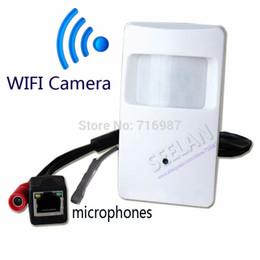 Wholesale Pir Mp - Hidden camera 720P WIFI Pir Motion Detector Pinhole Camera PIR Shape Pinhole WiFi Camera PIR IP Camera for 1.0 megapixel Microphones camera