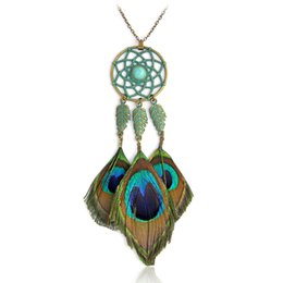 Wholesale Long Feather Necklace - Bohemia Peacock feather necklace Green Metal Dreamcatcher Stone Leave Long Pendant necklace for women Fashion Boho Jewelry Gift