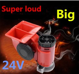 Wholesale Electric Horn Truck - High Super GZHAOER Loud Car Motorcycle Truck 24V Red Compact Dual Tone Electric Pump Air Loud Horn Vehicle Siren Free Shipping