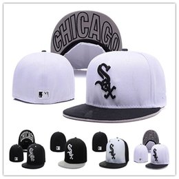 Wholesale Fitted Baseball Hat Sizes - Cheap White Sox Fitted Caps Baseball Cap Embroidered Team Size Flat Brim Hat White Sox Baseball Cap Size