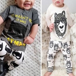 Wholesale Little Girls Spring Clothing Wholesale - Ins Baby Two-piece Clothing Sets Little Monster Printed Cartoon Short & Long Sleeve T-shirt Pants Boy Girls Tee Shirts Trousers 0-24M