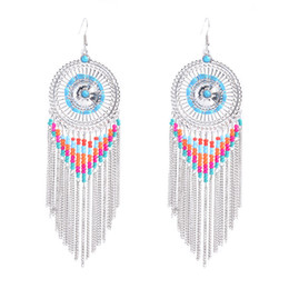 Wholesale Mixed Seed Beads - Mixed Color Seed Bead Fringe Tassel Chain Silver Round Cutout Plate Bohemia Chandelier Earring Extra Long Silver Plating OEM ODM Wholesale