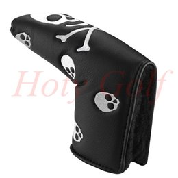 Wholesale Golf Putters Grips - Free Shipping Black white Leather Skull & CrossBones Headcover Golf Blade Putter Cover putter grip cover