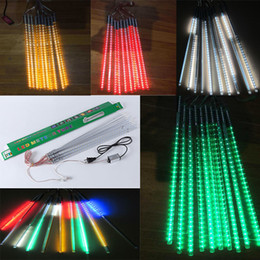 Wholesale Meteor Christmas Lighting - Christmas light Meteor lights LED outdoor christmas lights Ice tubes 80cm 10pcs tube LED fairy light strings colorful neon AC85-265V