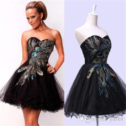 Wholesale Short Sexy Prom Peacock - Cheap Little Black Short Peacock Cocktail Party Dresses 2016 under 100 Sexy Sweetheart Ruched Tulle Corset Prom Gowns with Lace up