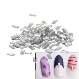 Wholesale Metallic Nails Stickers - 2x4mm Silver Rectangle Flatback Glue Backing Iron On Alloy Decals DIY Nails Art Decoration Metallic Nail Tips Studs Sticker