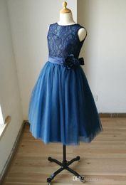 Wholesale Child Bridesmaids Dresses - Navy Blue Lace Sweetheart Tulle Keyhole Flower Girl Dress Tutu Kids Children Junior Bridesmaid Dress With Navy Sash Detachable For Wedding