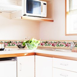 Wholesale Kitchen Paster - 10X1000cm Colorful yellow Kitchen Skirting LineWall Sticker Good Quality Paster for DIY Kid's Room Bedroom