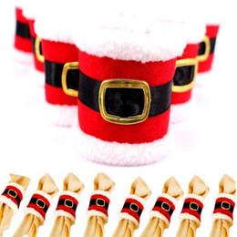 Wholesale Napkins Cartoon Decorations - Christmas belt buckle napkin sets Christmas decorations DIY Party new Table decoration ornaments quality Creative Party Supplie wholesale