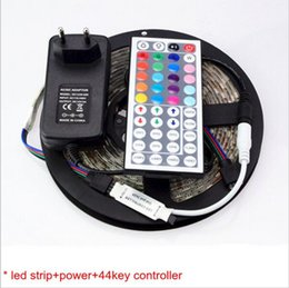Wholesale Power Supply 16 - 1Set 5M 300 LEDs 5050 RGB Flexible LED Strip light Tape Lamp + 10 24 44 Key IR Remote Controler + DC 12V EU Power Supply Adapter