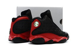 Wholesale Child Flights - Bred Retros 13 kids basketball shoes black cats Infant Sports sneaker boy and girl children Air 13s History of Flight sneaker SIZE 28-35