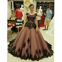 Wholesale Tull Ball - 2017 New Arrival Arabic Brown Prom Dresses Cap Sleeve Ball Gowns Tull with Black Applique Bandage Formal Evening Party Gowns Plus Size