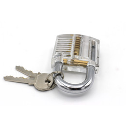Wholesale Padlock Locker - Lockmaster 7 pins Transparent Cutaway Practice Clear Acrylic Lock Padlock with Locker Master Key for lockpicking practice tools