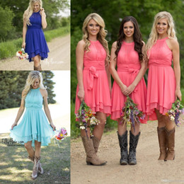 Wholesale Short Western Dresses - 2017 Cheap Royal Blue Coral Short Bridesmaid Dresses Country Modest Western Beach Wedding Guest Gowns Halter Neck Maid of Honor Dresses