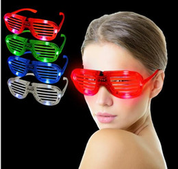 Wholesale Party Shade Glasses - Slotted & Shutter Shades Light Up Unisex Flashing Glasses For Adults & Children LED glasses sun glow glasses party festival bar rave toy