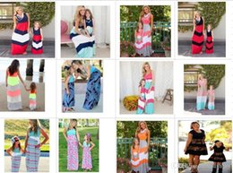 Wholesale Matching Dress Clothes - 2017 Summer Mother Daughter Dress Striped Matching Mom Daughter Clothes Family Look Mom And Daughter Dress Bohemian Style Family Clothing