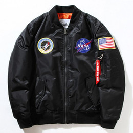 Wholesale Mens Casual Jackets Army Green - NASA Mens MA1 Bomber Jacket Insignia USAF Kanye West Hip Hop Sport Male Windbreaker Jacket Flag Mens Spring Thin section Jacket XXXXL d25